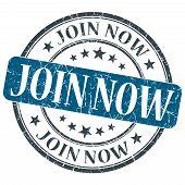 Join Now Blue Grunge Round Stamp On White Background