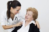 Happiness Senior Woman With Young Nurse