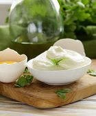 natural egg mayonnaise sauce in a white bowl