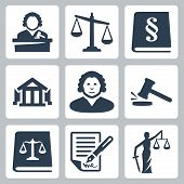stock photo of tribunal  - Vector law and justice icons set over white - JPG