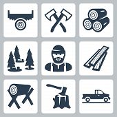 stock photo of logging truck  - Vector isolated lumberjack icons set over white - JPG