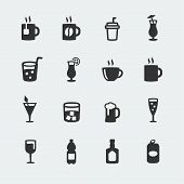 picture of milk-pint  - Vector beverages mini icons set on grey background - JPG
