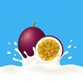 Passion fruit and milk or yogurt