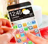Smart phone (phablet) with a transparent display in human hands. Concept actual future innovative id