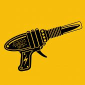 Retro Space Gun Tin Toy Silhouette