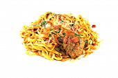 A genuine dish of Linguine and Meat Balls with Tomato Sauce. The perfect Italian dish for all your i