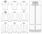 Men's short and long sleeve clothes templates (front view). Vector illustration. No mesh. Redact col