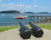 The Margaret Todd ship and 20-inch Rodman antique cannons in historic Bar Harbor