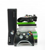SAINT-PETERSBURG, RUSSIA - March 01, 2014: Photo of Xbox 360.The Xbox 360 is a video game console d