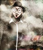 foto of chemical reaction  - Funny abstract design portrait of a mad scientist woman standing in science laboratory looking surprised when finding an explosive solution to a chemical reaction test - JPG