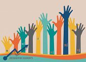 Infographic design template - colorful raised hands. Vector illustration.