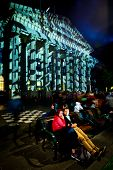 MELBOURNE, AUSTRALIA - FEBRUARY 22,2014: State Library during Melbourne's White Night which attracte