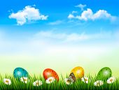 image of laying eggs  - Easter background - JPG