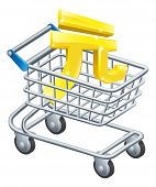 stock photo of yuan  - Yuan currency trolley concept of Yuan sign in a supermarket shopping cart or trolley - JPG