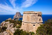 Ibiza Es Vedra view from Torre des Savinar Tower San Jose in Balearic Islands