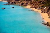 Ibiza Aigues Blanques Aguas Blancas Beach at Santa Eulalia Balearic Islands of spain