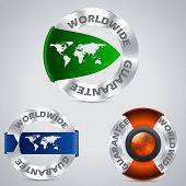 Various Worldwide Metallic Guarantee Badges