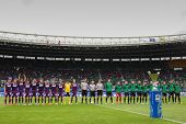 VIENNA,  AUSTRIA - MAY 30 The teams of FK Austria Wien and FC Pasching pose before the Austrian cup final game on May 30, 2013 in Vienna, Austria.