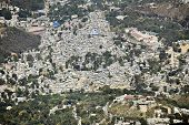 An overhead view of a very crowded neighborhood in Port Au Prince, Haiti.