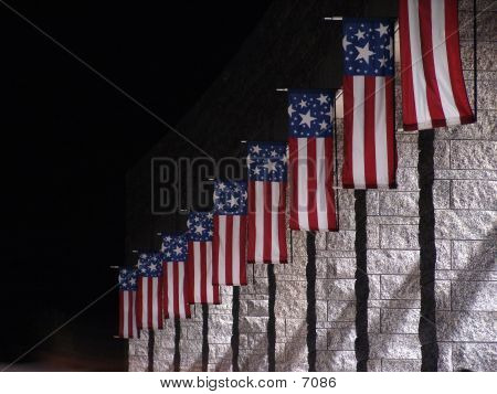 Picture or Photo of Flags at the the visitors center at Mt Rushmore at night