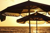 Sunshades At Sunset In A Mediterranean Beach. Crete