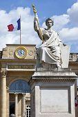 La Statue De La Loi Outside Palais Bourbon In Paris