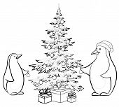 Penguins and Christmas tree, contours
