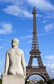 Statue Facing The Eiffel Tower In Paris