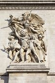 stock photo of charles de gaulle  - The beautiful sculptural detail on the Arc de Triomphe in Paris France - JPG