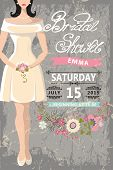 stock photo of short skirt  - Retro Bridal shower invitation - JPG