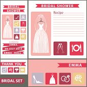 Bridal shower design  template set with flat icons