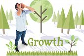 The word growth and shouting casual man standing against forest with earth tree