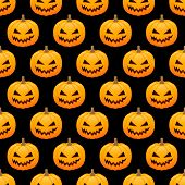 Halloween Pumpkins Seamless Background