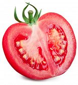 Half of tomato on a white background. File contains clipping paths.