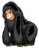 Illustration of a closeup gorilla standing