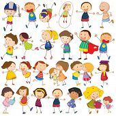 Illustration of many children in actions