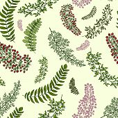 seamless pattern with leaves and branches