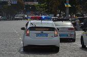 KIEV, UKRAINE - AUG 24, 2014.Ukrainian police during President Poroshenko Victory parade in downtown