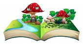 Illustration of a popup book with a mushroom house
