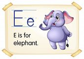Illustration of a flashcard with letter E
