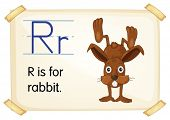 Illustration of a flashcard with letter R