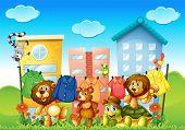 Illustration of many animals doing laundry