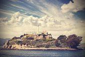 Vintage Picture Of Alcatraz Island In San Francisco, Usa.