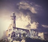 Vintage Picture Of Dramatic Rainy Sky Over Alcatraz Island In San Francisco, Usa.