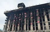 KIEV, UKRAINE - MAR 17, 2014: Downtown, vandalised during revolution of dignity and occupation Kiev