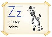 Illustration of a flashcard with letter Z