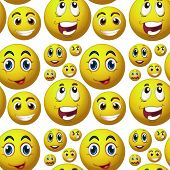 Illustration of seamless happy faces