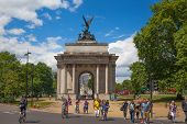 LONDON, UK - JUNE 3, 2014: Triumph arch in London, Green park