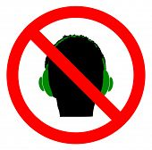 Don`t use Headphones sign icon. Prohibition sign. Vector,eps10