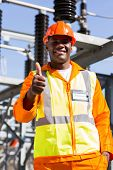 happy african electrical engineer giving thumb up